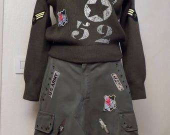 Military pattern cotton skirt