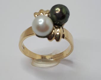 Yellow Gold, Natural White and Black Pearl Ring, Gift for Her, Birthday Gift, Pearl Ring, Women Pearl Ring, Ring for Her, Black Pearl Ring