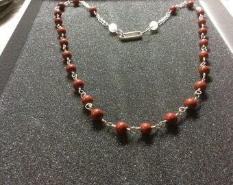 Necklace, red jasper