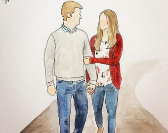Customized couples portraits - watercolor