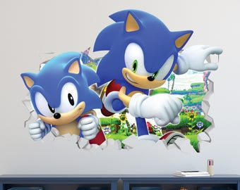 Sonic The Hedgehog Wall Decal   Sonic The Hedgehog Smashed Sticker   Kids  Games 3D Smashed Part 28