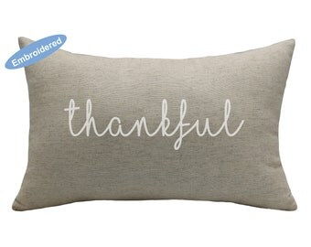 Pillow Covers Embroidered Thankful,housewarming gift,Mother's Day Gift,Gift for mom,gift for wife,gift for daughter,gift for family