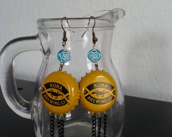 Upcycled bottle cap fish hook earrings