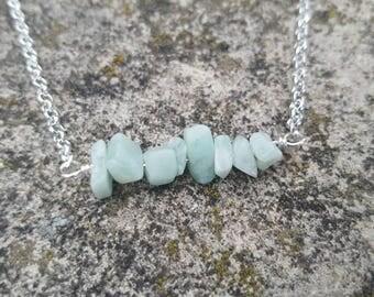 Amazonite gemstone chip necklace