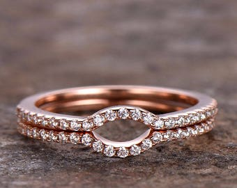 Half eternity wedding ring,925 sterling silver wedding band,rose gold or white gold plated,thin pave or marquise matching band,Arch Curved
