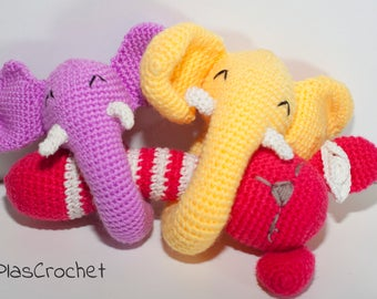 Rattle amigurumi elephant and teddy bears, babies, newborns