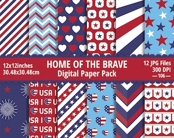 4th of July Digital Paper Pack, 4th of July Patterns, 4th of July Backgrounds, Patriotic Digital Paper, Digital Paper Commercial Use, USA