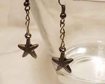 Silver Star Fish, Fish Hook Dangle Earrings