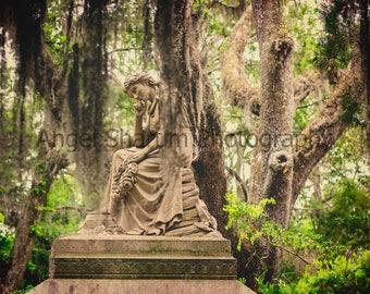 Sad Lady Thinking Statue Color Digital Photo-Digital Download-Photography-Lady-Lady Statue-Photo
