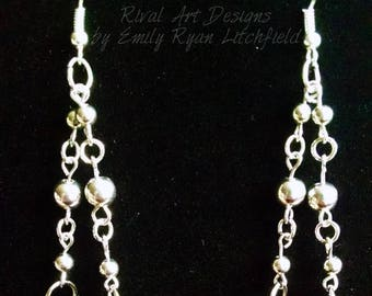 Black & Silver Beaded Drop Earrings