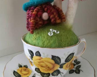 Little Munchkin' pin cushion, Needle felted, ideal for all your  sewing and needle work needs. Will keep your pins nice and safe.