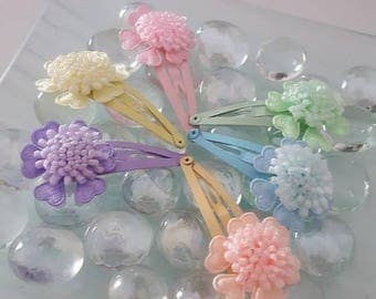 Floral Snap Hair Clips, Baby Hair clips, Toddlers, Pom Pom pins