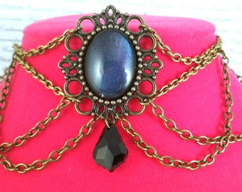 Handpainted multicolored changing stone and bronze chain choker necklace gothic victorian