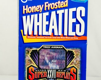 Vintage Honey Frosted Wheaties Troy Aikman Superbowl XXVII Dallas Cowboy's