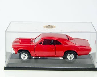 Rare All Red Tootsietoy Muscle Car Hard Body 1966 Chevy Mailbu Diecast Model Car