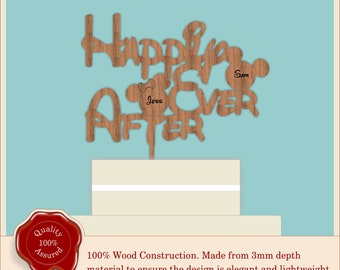 Happily Ever After ''Disney Font'' - Wooden Personalised Cake Topper. Vintage Wedding, Anniversary, Birthday
