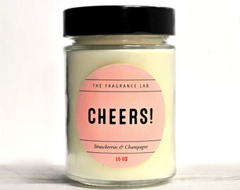 "Soy Candles - ""Cheers"": Champagne & Strawberries Scented 