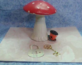"Vintage ceramic mushroom figurine. 4 in x 3.25"". Red and white ceramic mushroom figurine. Gnome Home. Toadstool figurine. Garden gnome home"