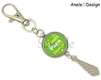 Dad gift Keychain - green yellow white tie
