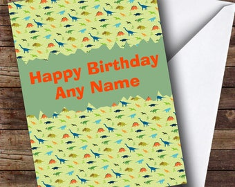 Green Dinosaurs Personalised Birthday Card