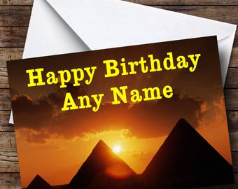 Egypt Pyramids Personalised Birthday Card