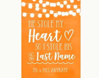 Orange Watercolour Lights Stole Last Name Personalised Wedding Sign