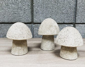 Vintage Concrete Mushrooms // Midcentury Mushroom Figurines // Set of Three Concrete Mushrooms // free domestic shipping