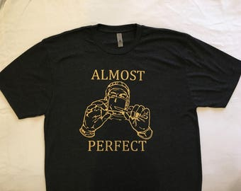 """NEW """"Almost Perfect"""" Luxury T-Shirt Dark Charcoal Gray L"""