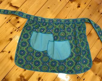 Cute Blue & Green Retro Print Fabric Vintage Wrap Apron with Cute Pale Blue Pockets