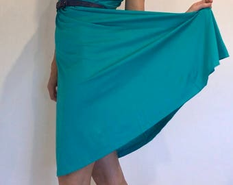 "Simple 70s Bright Aqua Green Dress Made from FILAMEL by Fibremakers ""Beautifully Australian"""