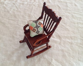 Miniature rocking chair on a scale of 1:12 with cushions for Doll House