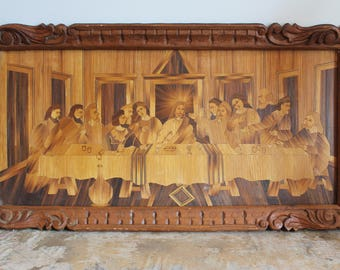 Antique Last Supper Straw Marquetry in Carved Wood Frame