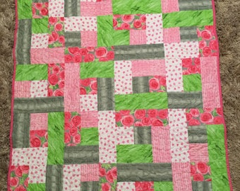 Baby Quilt or Lap Quilt pinks and greens