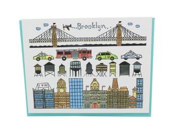 Brooklyn greeting card, Brooklyn bridge card, New York taxi card, Brooklyn downtown, water towers, yellow cab, NYPD FDNY blank card