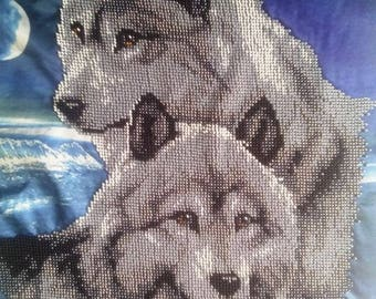 Beaded Painting, Picture Wolves