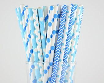 Blue Paper Straws Mix - Party Decor Supply - Cake Pop Sticks - Party Favor
