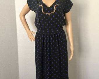 Vintage 1970s Christian Dior polka dot dress