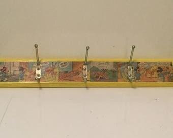 Vintage Mickey Mouse Coathook/ Retro Comic Coathook/ Decoupage Mickey Mouse Coathook