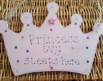 Princess crown personalised wooden  door wall sign new glittery girls bedroom decor new design