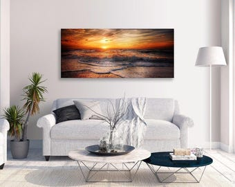 Sun Seascape Canvas Orange Yellow Tide Panorama Canvas Wall Art Home Decor