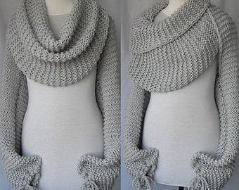 Bolero - scarf, grey sleeves