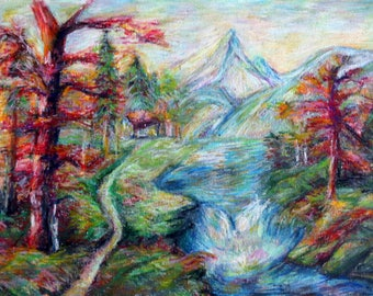 Original Oil Pastel Painting For Sale. Impressionist painting.  Landscape/Creek painting