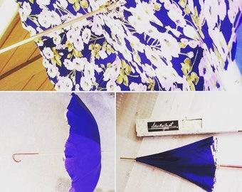 Vintage blue floral French umbrella