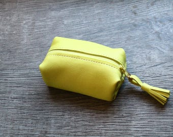 Yellow lemon - leather wallet
