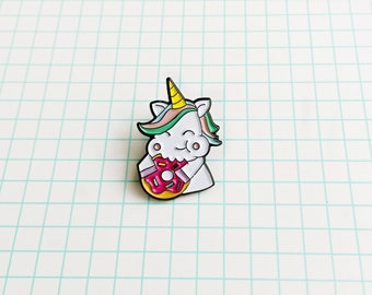 Unicorn donut enamel lapel pin, badge, kawaii pins, soft enamel pin, unicorn pin, cute pins, donut pins, lapel pins