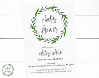 Baby Shower Invitation Girl Boy Gender Neutral Watercolor Wreath Digital Printable Invite