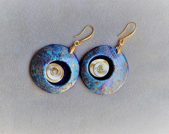 Earrings in polymer clay hand painted, unique piece