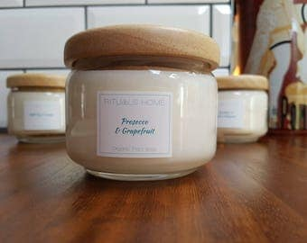 Natural Organic Candle Pop Jar with Wooden Lid PROSECCO & GRAPEFRUIT - vegan candle, eco-friendly gift, natural scented candle, Mother's Day