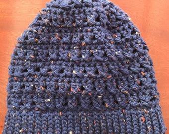 Beautiful blue slouchy beanie hat !
