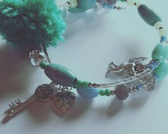 Bracelet whit cupid,heart and key